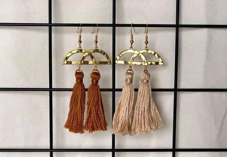 Crescent Beige Tassel Earrings