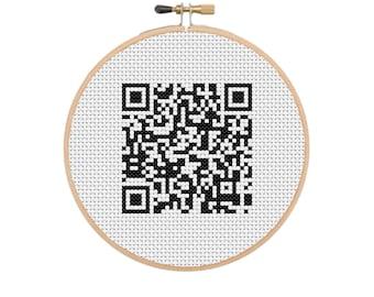 Rickroll qr code Cross Stitch Pattern