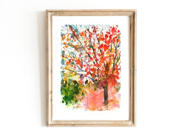 Abstract Fall Tree Watercolor Digital Print Vermont Fall Painting Instant Download Printable Wall Art New England Autumn Fall Landscape