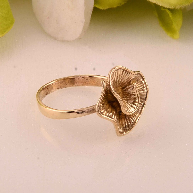 Flower Ring Pre-Engagement Ring Handmade Ring Promise Ring Wedding Ring Anniversary Ring Gold Plated Brass Ring Brass Floral Ring