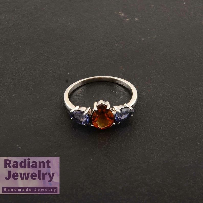 Multi Stone Ring Handmade Ring Wedding Ring Natural Stone Ring Citrine Ring Engagement Ring Sterling Silver Ring Tanzanite Ring