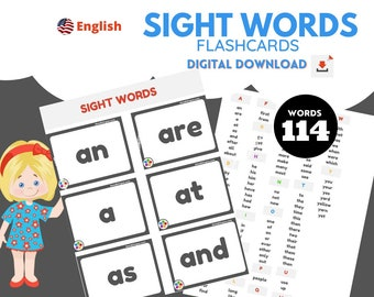 114 Common Sight Words  - Flashcards -