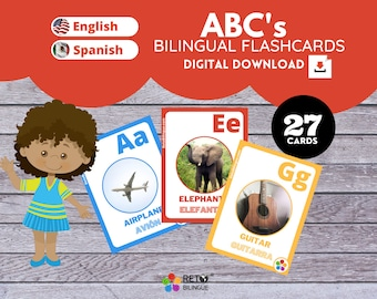 ALPHABET * Bilingual Montessori Flashcards*  English // Spanish