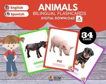 ANIMALS * Bilingual Montessori Flashcards*  English // Spanish