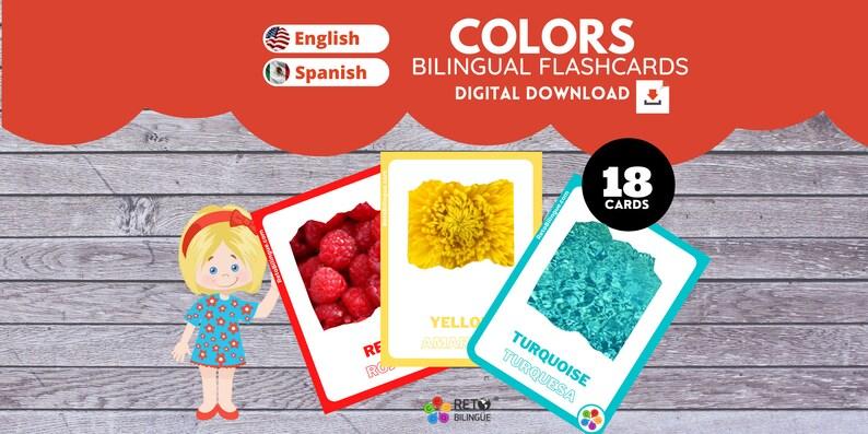 COLORS  Bilingual Montessori Flashcards  English // Spanish image 0