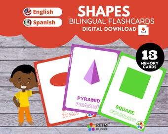 SHAPES MEMORY CARDS * Bilingual Montessori  Flashcards*  English // Spanish