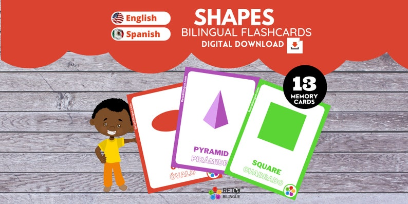 SHAPES MEMORY CARDS  Bilingual Montessori  Flashcards image 0