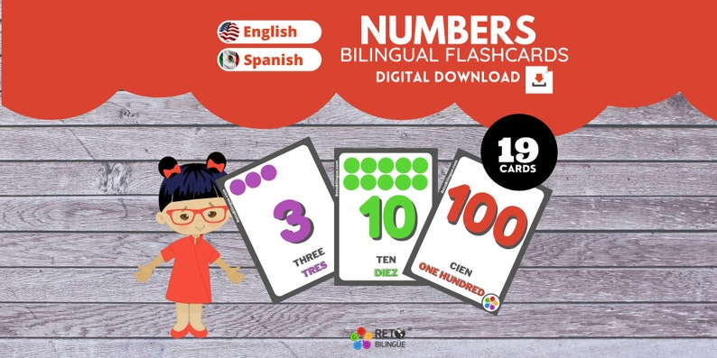 NUMBERS  Bilingual Montessori Flashcards  English // Spanish image 0