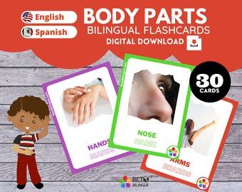 BODY PARTS * Bilingual Montessori Flashcards*  English // Spanish