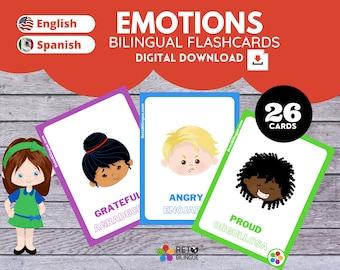 EMOTIONS * Bilingual Montessori Flashcards*  English // Spanish