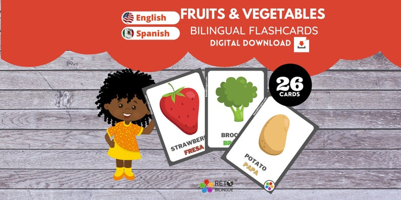 FRUITS AND VEGETABLES  Bilingual Flashcards  English // image 0