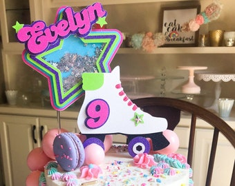 Roller Skate Cake Topper, Roller Skate Topper, Roller Skate Shaker Topper, Roller Skate Shaker Cake Topper, 90s theme topper, 3D cake topper