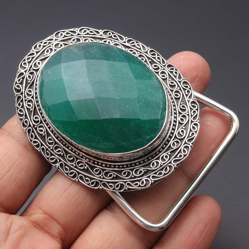 Emerald Belt Buckle Unique Gift Jewellery Gift For her Jewellery Gemstone Belt Buckle Sterling Silver Plated Belt Buckle Jewelry