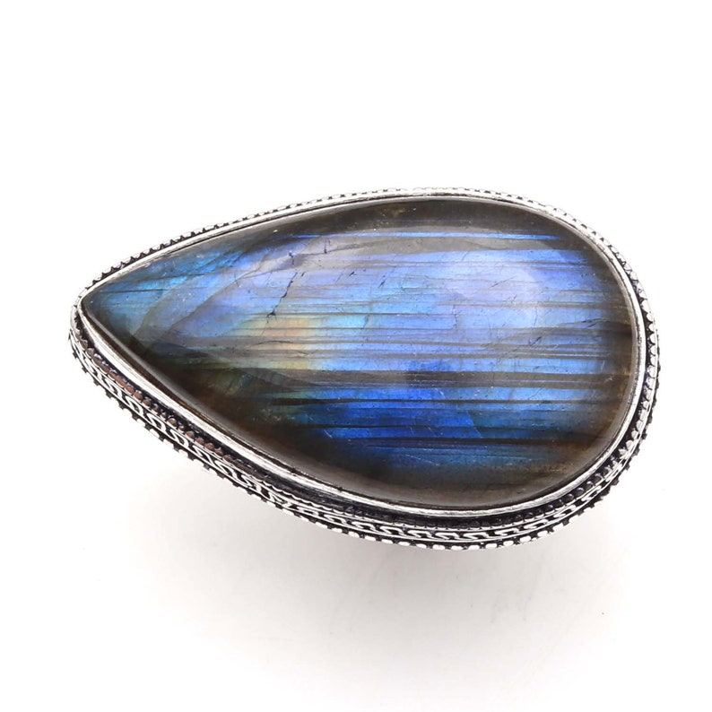 Genuine Blue Fire Labradorite gemstone Vintage style Setting Handmade 925 Sterling Silver Plated Ring Jewelry USA 210