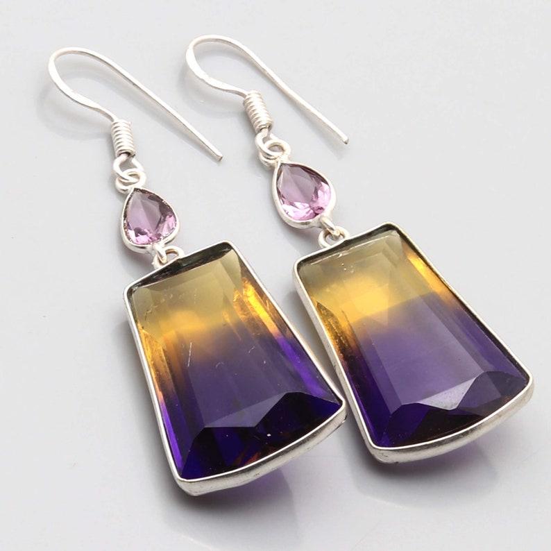 Ametrian Amethyst Faceted gemstone Handmade 925 Sterling Silver Plated Earrings Jewelry USA 587