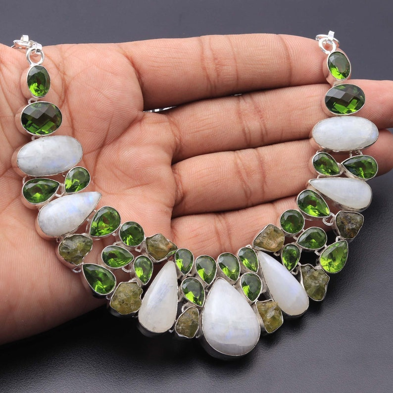 Rainbow Moonstone Peridot Necklace Jewellery Woman Gemstone Cluster Necklace Gift For Girl Sterling Silver Plated Gift For Her