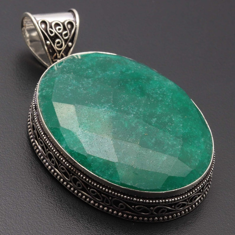 Emerald Pendant GIGANTIC Pendant Woman Necklace Pendant Gemstone Vintage Style Pendant Gift For Her Jewellery Silver Plated Jewelry