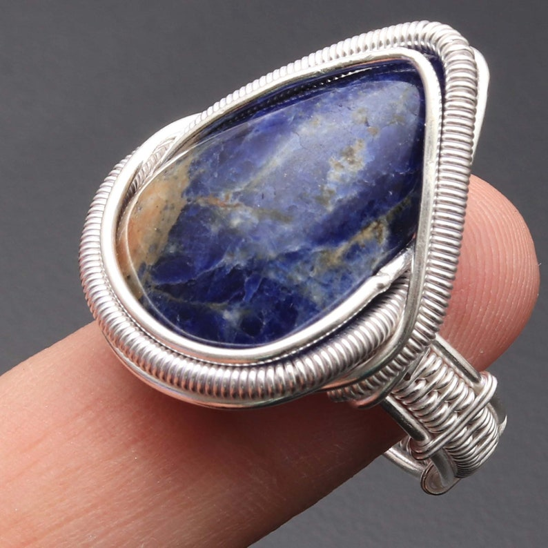 Sodalite Ring Woman Ring Wire Wrapped Ring Sterling Silver Plated Gemstone Ring Gift For Her Gemstone Ring Jewellery Ring