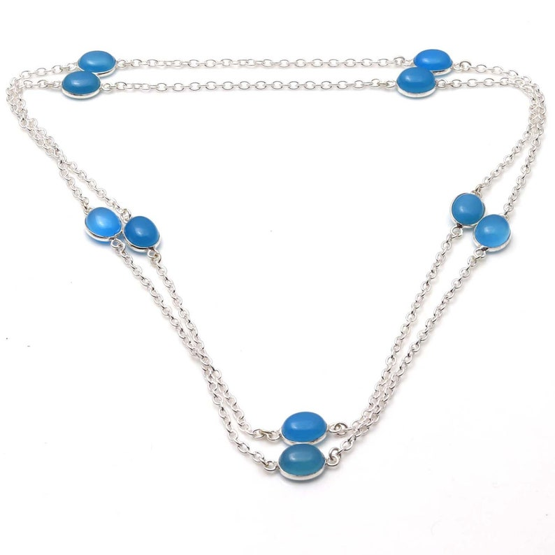 Chalcedony gemstone Handmade 925 Sterling Silver Plated Chain Necklace Jewelry USA 577