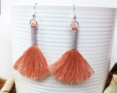 Cotton Tassel Macrame Earrings | Handmade UK | Silver Plated Ear Hook |  Boho Jewellery | Earrings with Fringe | Statement Drop