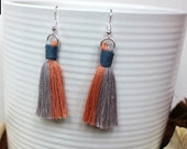 Cotton Macrame Tassel Earrings | Handmade UK | Silver Plated Ear Hook |  Boho Jewellery | Earrings with Fringe | Statement Drop