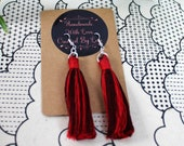 Red Ombre Cotton Macrame Tassel Earrings | Handmade UK | Silver Plated Ear Hook | Boho Jewellery | Earrings with Fringe | Statement Drop