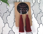 Burgundy Macrame Cotton Tassel Earrings | Handmade UK | Silver Plated Ear Hook | Boho Jewellery | Earrings with Fringe | Statement Drop
