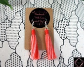 Orange Ombre Cotton Macrame Tassel Earrings | Handmade UK | Silver Plated Ear Hook | Boho Jewellery | Earrings with Fringe | Statement Drop