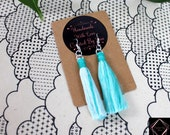 Aqua Ombre Cotton Macrame Tassel Earrings | Handmade UK | Silver Plated Ear Hook | Boho Jewellery | Earrings with Fringe | Statement Drop
