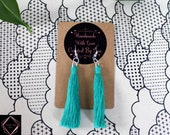 Aqua Cotton Macrame Tassel Earrings | Handmade UK | Silver Plated Ear Hook | Boho Jewellery | Earrings with Fringe | Statement Drop