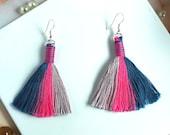 Unique handmade striped tassel earrings, Multi coloured boho earrings for women, Statement drop earring with fringe gift for women