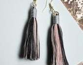 Pink and grey multi tassel earrings, Boho earring gifts for women with fringe, lightweight earrings with statement drop, Boho jewellery