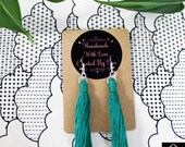Green Cotton Macrame Tassel Earrings | Handmade UK | Silver Plated Ear Hook | Boho Jewellery | Earrings with Fringe | Statement Drop