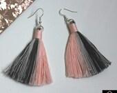 Cotton Tassel Macrame Earrings   Handmade UK   Silver Plated Ear Hook   Boho Jewellery   Earrings with Fringe   Statement Drop