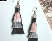 Unique pink and grey tiered tassel earrings, Silver plated boho earrings, handmade gifts for women, Boho Jewellery with fringe for women