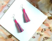 Statement drop tassel earring in pink, blue and grey, Unique handmade tassel earrings for women, Perfect gift for women with boho style