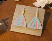 Boho earrings in soft colours, Cotton Tassel Macrame Earrings for women, Statement earrings for womens, fashion earring gift for women