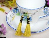 Boho earrings for women, Green long tassel earrings, Statement earrings, Gifts for women.