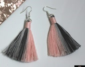 Pink and grey boho earrings, gifts for women, Cotton Tassel Macrame Earrings in soft colours, Silver plated statement drop earrings