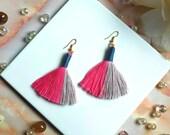 Unique side stripe tassel earrings, Boho earrings handmade in the UK, statement drop in pink & grey, Perfect gift for women with boho style
