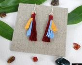 Silver plated Boho earrings for women, Unique earrings made using cotton Macrame tassels, bohemian earrings gifts for women