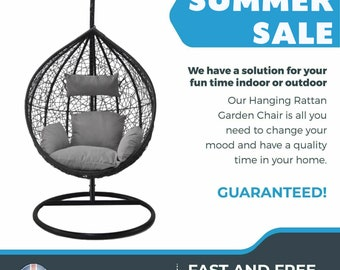 Black Hanging Rattan Patio Garden Swing Weave Egg Chair with Cushion
