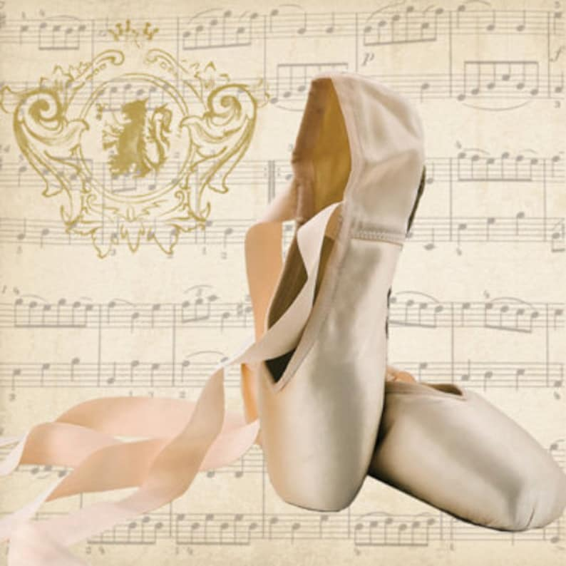 4 individual ballet shoes decoupage napkins Ballet shoes /& music paper craft napkin mixed media for decoupage general craft scrapbook