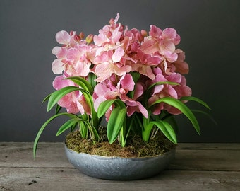 Real Touch Orchid/Faux Orchid/Premium Silk Orchid/Faux Orchid Arrangement/Orchid Centerpiece/Artificial Orchid