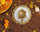 Metal Feng Shui Tortoise On Plate Showpiece for Good Luck Turtle Vastu Gift for Career and Luck Home Decoration