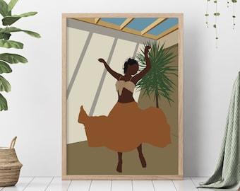 Abstract Black woman Printable wall art, Dancing woman illustration, Boho fashion posters, Boho home decor, Empower affirm, Digital download