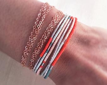 Japanese Glass Delica Miyuki Seed Bead Bracelet, Delicate Rainbow Colorful Bracelet, Minimal Boho Seed Beads, Friendship Bracelet