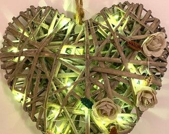 Wicker Heart Wreath with Firefly Fairy Lights