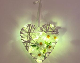 White Daisy Heart Wreath with Fairy Lights