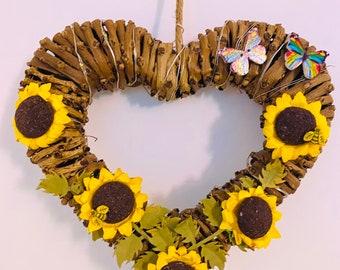 Lit Sunflower Heart Wreath